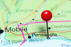 Pensacola pinned on a map of Florida, USA Stock Photos