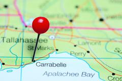 Carrabelle pinned on a map of Florida, USA Stock Photos