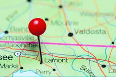 Lamont pinned on a map of Florida, USA Stock Photos