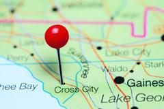 Cross City pinned on a map of Florida, USA Stock Photos