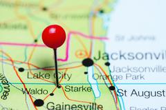 Starke pinned on a map of Florida, USA Stock Photos