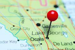 Ocala pinned on a map of Florida, USA Stock Photos