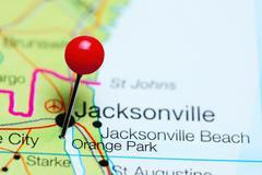 Orange Park pinned on a map of Florida, USA Stock Photos