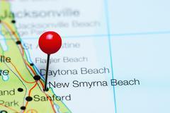New Smyrna Beach pinned on a map of Florida, USA Stock Photos