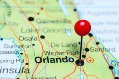Orlando pinned on a map of Florida, USA Stock Photos