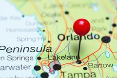 Lakeland pinned on a map of Florida, USA Stock Photos