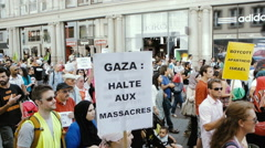 Protest against Israel in France crowd yelling Stock Footage