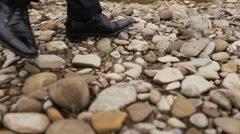 The legs of young stylish groom Stock Footage