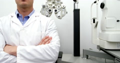 Portrait of smiling optometrist Stock Footage
