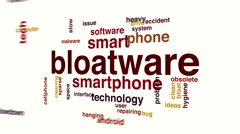 Bloatware animated word cloud. Stock Footage