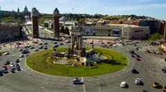 Timelapse of traffic in Plaza de Espana in Barcelona, Spain. Stock Footage