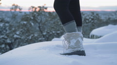 Footsteps through the Snow Stock Footage