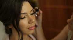 Stylist makes makeup bride before the wedding Stock Footage