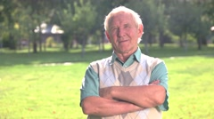 Old man with crossed arms. Stock Footage