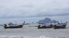 Long tail boats at Ao Nang Beach in Krabi Stock Footage