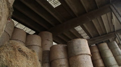 Large bales of hay storage Stock Footage