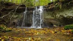 Daudas waterfall is the third highest (2,4m) in Latvia Stock Footage