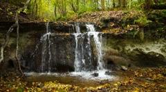 Daudas waterfall is the third highest in Latvia Stock Footage