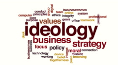 Ideology animated word cloud. Stock Footage