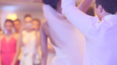 Gorgeous stylish happy bride and groom performing their emotional first dance Stock Footage