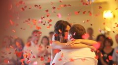 Sensual happy newlywed couple dancing and smilling Stock Footage