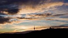 Sunset timelapse of Tibidabo, in Barcelona. Stock Footage