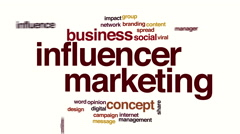 Influencer marketing animated word cloud. Stock Footage