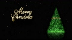 Green Sparkle Tree with Gold Snow Merry Christmas 4K Loop Stock Footage