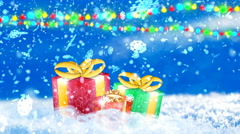 HD Loopable Background with nice snowflakes and xmas gift boxes Stock Footage
