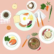 Food in flat illustration style. Top view Stock Illustration