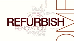 Refurbish animated word cloud. Kinetic typography. Stock Footage