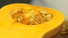 Squash seeding with olive oil and date honey Stock Footage