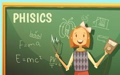 School Physics Education Classroom Cartoon Poster Stock Illustration