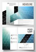 Templates for bi fold brochure, magazine, flyer or report. Cover design template Stock Illustration