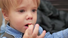 The kid eats a fried potato at a fast food restaurant closeup Stock Footage
