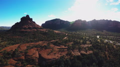 Aerial Camera Hovering Wide Bell Rock- Sedona Arizona Stock Footage