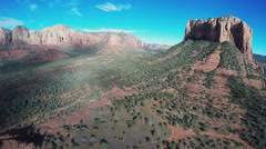 Aerial Camera Hovering Wide Court House Butte Hiking Area Stock Footage
