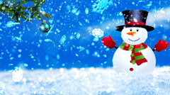HD Loopable Background with nice snowflakes and xmas snowman Stock Footage