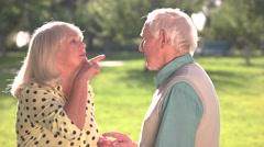 Elderly couple arguing. Stock Footage