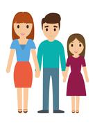 Parents and daughter family design Stock Illustration
