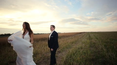 Bride and groom possing and laughing Stock Footage