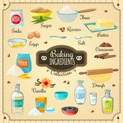 Baking Ingredients Set Stock Illustration