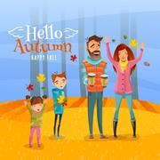 Family And Autumn Season Illustration Stock Illustration