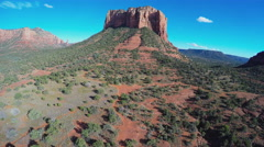 Camera Flying Toward Court House Butte- Sedona Arizona Stock Footage
