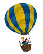 Couple in a hot-air balloon cartoon Piirros