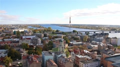 Riga, Latvia: View of Riga from the observation deck of the Stock Footage