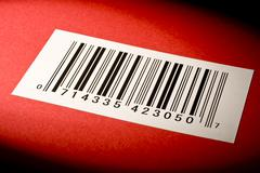 Bar Code On Textured Red Background Stock Photos