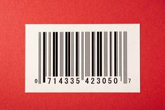 Bar Code On Red Textured Background Stock Photos