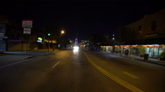 4K Driving Plates LA Chinatown Night 04 Rear View Broadway East bound at Coll Stock Footage