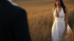Bride approaching to the groom Stock Footage